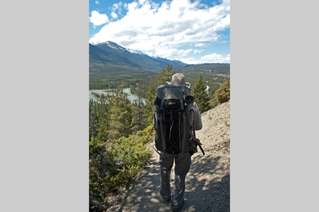 Hiker, Old Fort Point, Jasper National Park, Alberta, Canada
