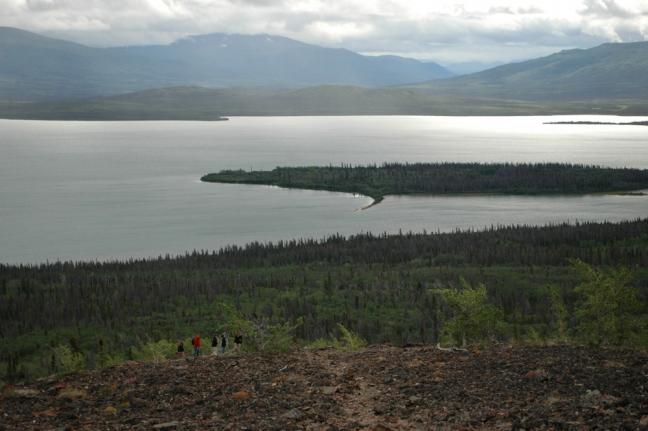 Hikers, Dezadeash Lake, Rock Glacier, Yukon, Canada
