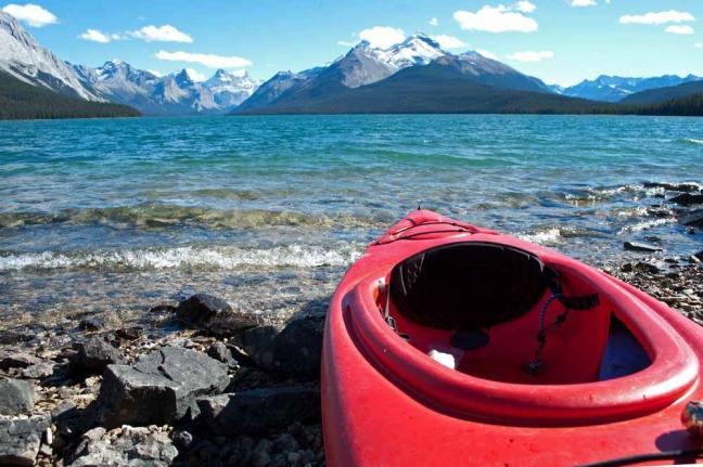 Kayaking, Malaign Lake, Jasper National Park, Alberta, Canada