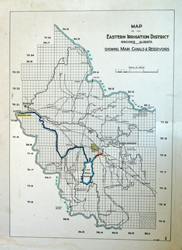 This map shows the canals and reservoirs of the Eastern Irrigation District. Amazing to see how much water there is!